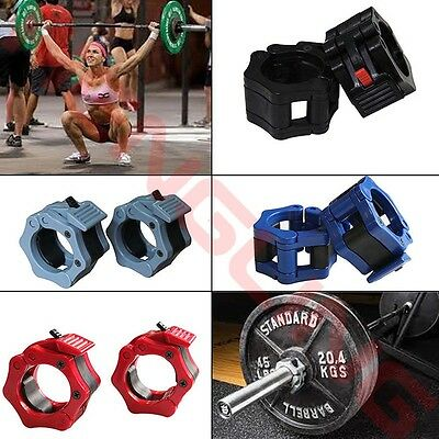 2x Barbell Collars Standard Olympic Lock Collars Weight Lifting Fitness Training