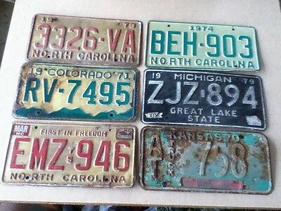 Shop Cleanup Lot of 6 1970's Mixed States License Plates Tags Vintage Rustic #1