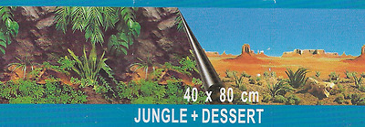 poster fond d aquarium jungle+desert double face 80x40 cm de hauteur