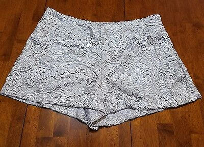 Alythea Womens Lace Like Shorts.  Sz Large. Silky Lining.  Gray. High Waist. Guc