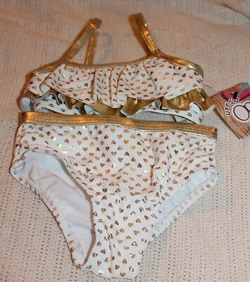 Nwt Girls Op Ocean Pacific 2 Pc Bathing Suit White W/ Gold Hearts Ruffle Pageant