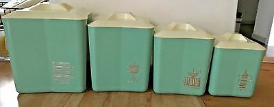 Vintage Mid-Century Set of 4 Blue Plastic Acrylic Kitchen Nesting Canisters