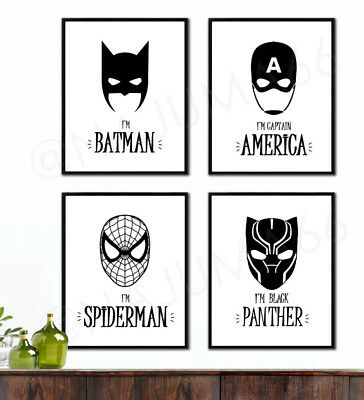 MODERN SUPERHERO BLACK & White Minimalist Decor Wall Art Print ...