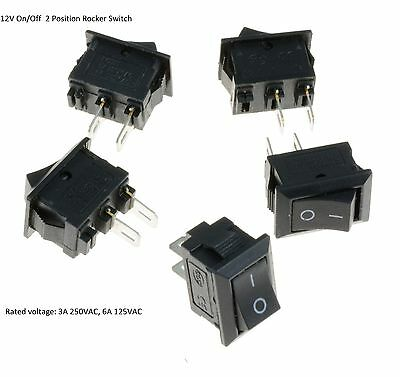 New! Small Mini Black On/Off Rocker Switch Rectangle SPST 12V Various Quantities
