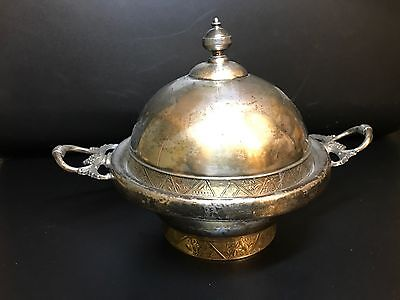 Beautiful Antique Covered Butter Dish Hartford Quadruple Silver-plate #807