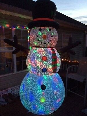 Christmas Inflatable Snowman With Kaleidoscope Light 8 Foot Cute New