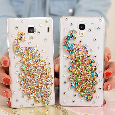 Peacock Bling Crystal Diamonds Soft TPU Gel Silicone Back Phone Cover Case #A
