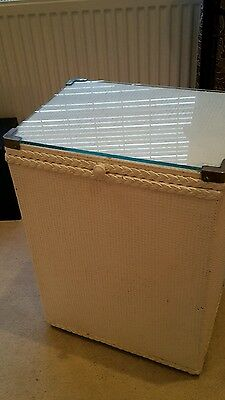 vintage linen box with glass lid