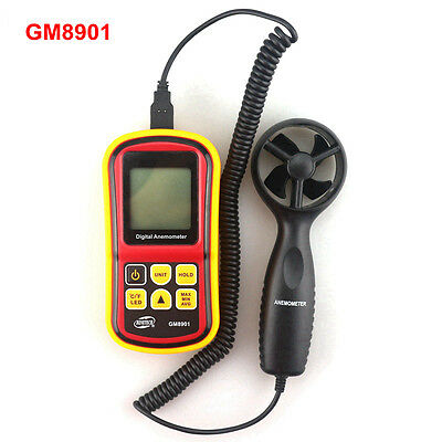 GM8901 Portable Digital Anemometer Air Speed Tester 0~45 m/s Wind LCD Backlight