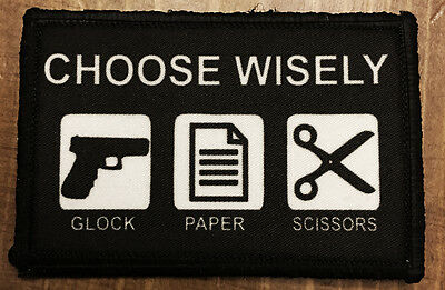Glock Paper Scissors Choose Wisely Morale Patch Military Tactical Army Hook Flag