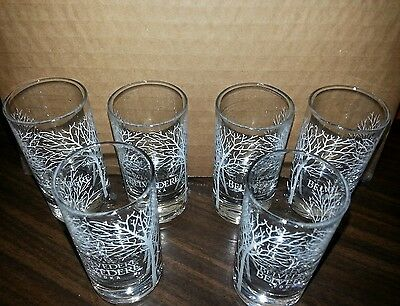 Set of 6 Belvedere Vodka Satin Tree Double Shot glasses - Clear  NEW IN BOX