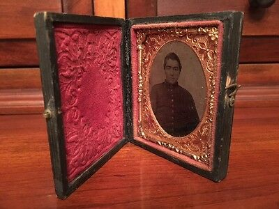 Civil War 1/9th plate Ambrotype Confederate Soldier, North Carolina? Full Case