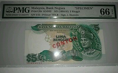 Malaysia 5 Ringgit (1986) SPECIMEN CONTOH Note #033 Graded PMG66 P.28a 28as Rare