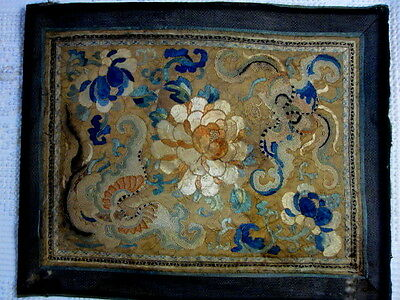 """VINTAGE ANTIQUE CHINESE SILK EMBROIDERY BATS 12 1/2""""x15"""" Approx."""