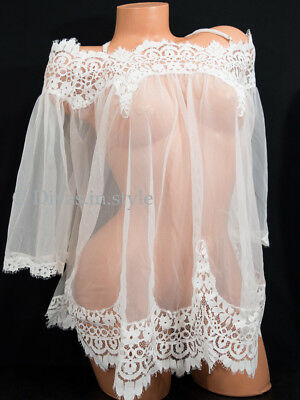 VICTORIA'S SECRET Dream Angels Floral Lace Bridal Tunic Cover-up Babydoll White