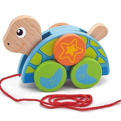 Wooden Pull Along Toy Turtle, Toddler Pull along toy