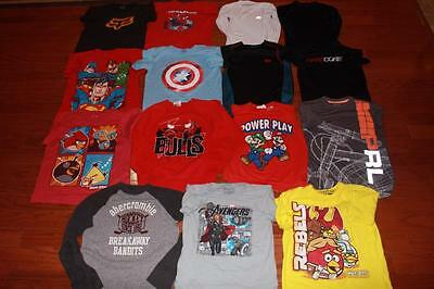 Lot 15 Youth Boys Mixed Graphic Tees Compression Shirts Avengers Angry Birds S M