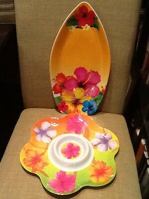 "2 plastic serving trays hibiscus orange 16"" surfboard chips or dip luau party"