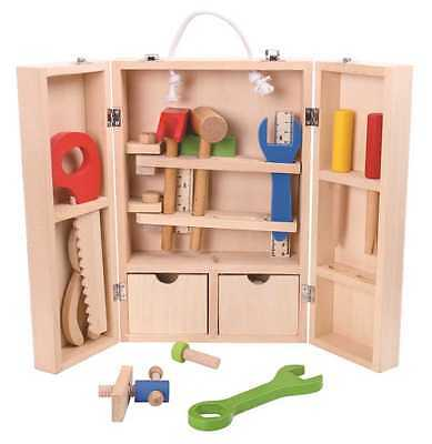 Wooden Tool Set for toddlers, 33 Piece kids tool kit in wooden carry case