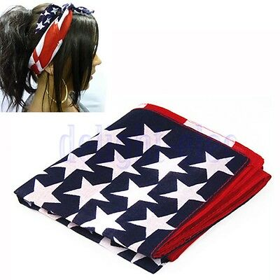 Women Unisex American Stars And Stripes USA Flag Bandana Hair Band Face Mask DE