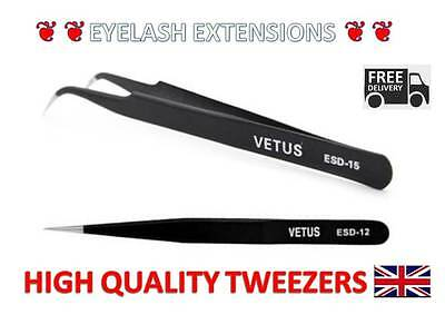 Vetus Pro High Quality Straight Pointed/ Curved Tweezers For Eyelash Extensions