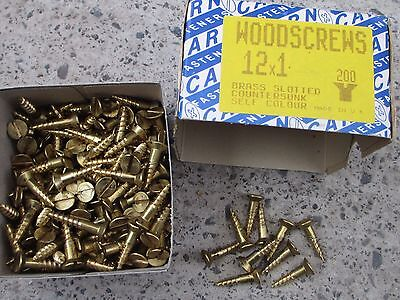 "12 x 1"" Brass Slotted Flat Head Csk Wood Screws Boxed  x 200"