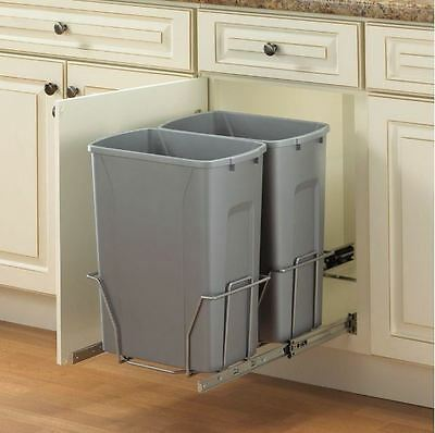 Merveilleux Steel In Cabinet Slide Pull Out Twin Trash Can Garbage Recycle Bin System  35Qt
