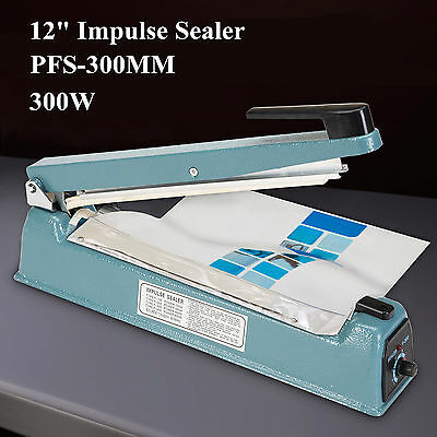 "12"" Manual Heat Sealing Impulse Sealer Machine Plastic Closer Teflon 300mm Wrap"