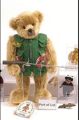 "Artist Designed Gund Barton's Creek 12"" FREDDY the Fishing Bear Just Adorable"