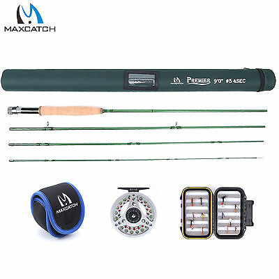 Maxcatch 5WT 9FT Fly Rod Kit Combo, Reel, Line, Box, Flies, Fly Fishing Outfit