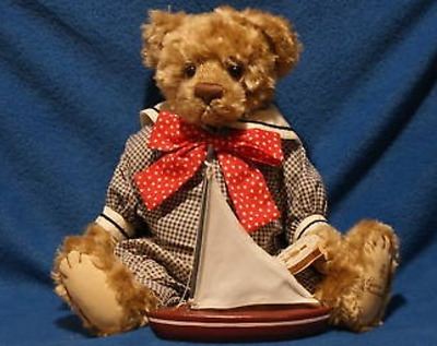 "Artist Designed Gund Barton Creek 15"" Tad the Sailor Bear w/Wooden Boat LARGE"