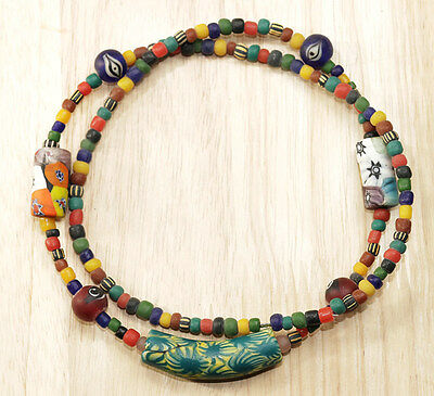 vintage antique collectible old stone beads necklace Tarawadee thai handmade