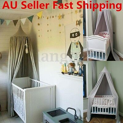 Kids Baby Bedding Round Dome Bed Canopy Netting Bedcover Mosquito Net Curtain AU