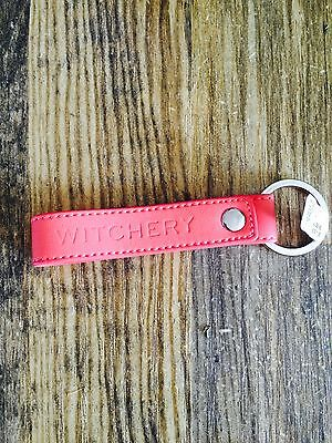 Witchery Coral Leather Key Ring Tag New