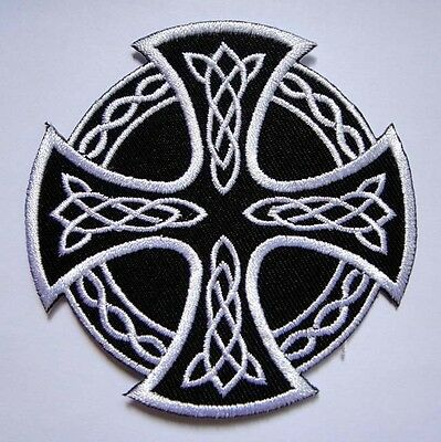 BEAUTIFUL CELTIC KNOT CROSS Embroidered Iron on Patch + Free Shipping