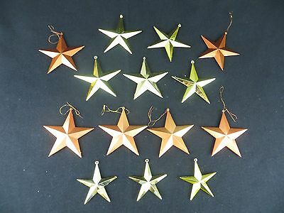 Lot Of 14 - Star Christmas Ornaments - Gold And Copper Color Star Ornaments