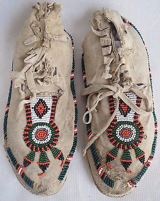 """9""""3/4 Antique Native American Late 1920's Plains Indian Beaded Moccasins"""