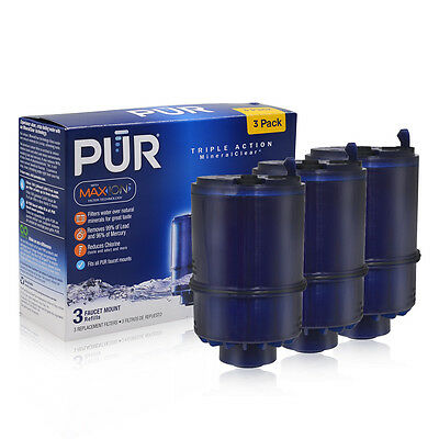 3 Pack  New PUR MineralClear Faucet 3 Stage Refill Filters RF-9999 Blue Max-ION