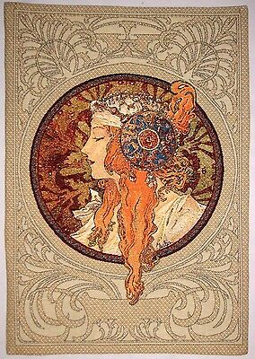 """New Alphonse Mucha Byzantine Blonde Fully Lined 28"""" Tapestry Wall Hanging 6007"""