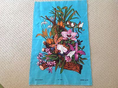Vintage Retro Linen Tea Towel Depicting Gorgeous Bright Orchids Made In Ireland.