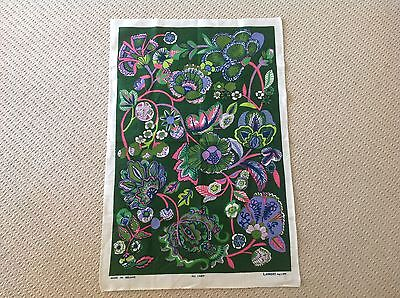 Vintage Retro Linen Tea Towel Depicting Gorgeous Bright Flowers Made In Ireland.