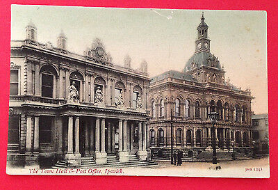 Suffolk - The Town Hall & Post Office, Ipswich, Pre-1918 PC Publ. JWS, Unused
