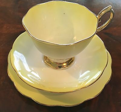 Royal Albert Lady Katherine Trio in Yellow - Tea Cup, Plate, Saucer Set