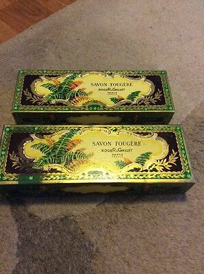 Two Empty Vintage Savon Fougere Roger Gallet Hand Soap Gift Boxes