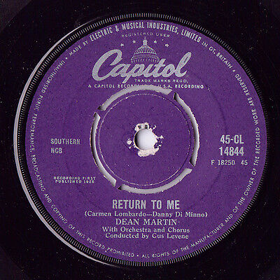 Dean Martin – Return To Me / Forgetting You Capitol Records – 45-CL 14844 50s
