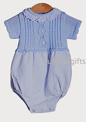Spanish Style Blue Cable Knitted/Waffle Frill Romper Newborn 0-3 3-6 Months
