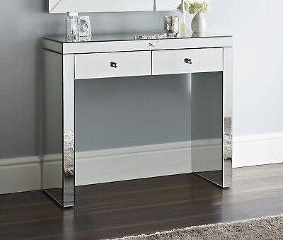 Mirrored Hall or Dressing Table Two storage Drawers new Chic console 100 cm wide