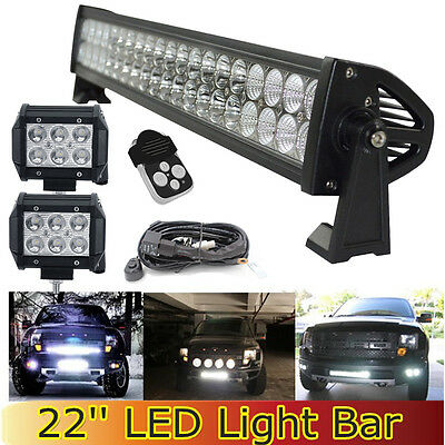 20 22Inch LED Work Light Bar  + 4inch CREE Pods for Ford SUV ATV UTE Offroad JK