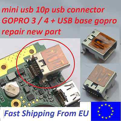 gopro hero 3/4 usb female socket,gopro usb connector,mini usb 10pin,gopro repair
