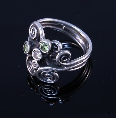 Retired Pandora Autumn Winds Silver Ring w. Green and Taupe Stones